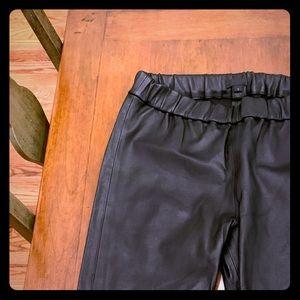Black leather leggings, never worn, J Crew.
